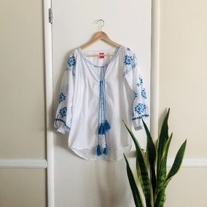 Raj White Embroidered Tunic / Cover-up sz M